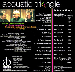 Interactions - Acoustic Triangle cd back